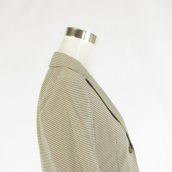 Taupe ivory plaid cotton blend THEORY 3/4 sleeve jacket 8-Newish