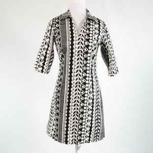 Black white geometric cotton blend J. MCLAUGHLIN 1/2 sleeve sheath dress 2