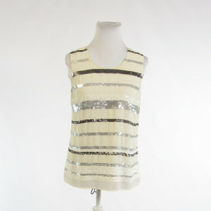 Cream gray COLDWATER CREEK sequin trim sheer overlay sleeveless blouse XS-Newish