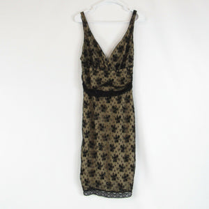 Black beige floral print lace TRACY REESE sleeveless empire waist dress 4 NWOT