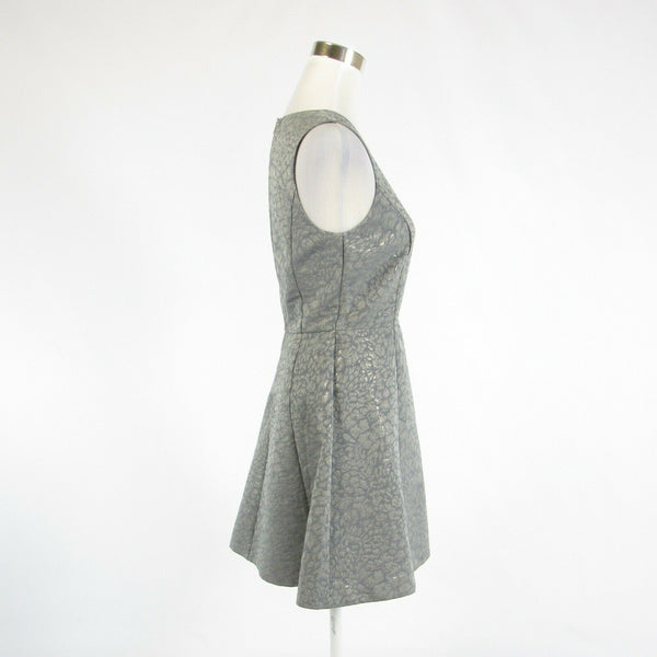 Gray silver cheetah cotton blend BANANA REPUBLIC sleeveless A-line dress 2-Newish