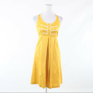 Mustard yellow white 100% cotton ANTHROPOLOGIE FLOREAT halter neck sun dress 2
