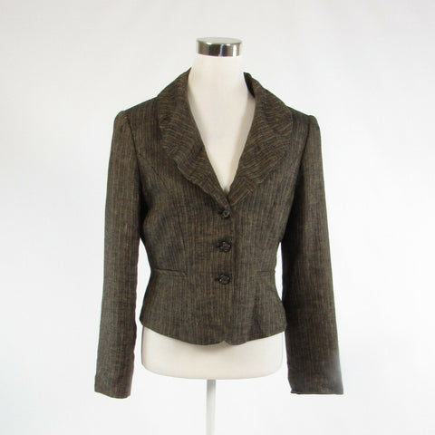 Brown black uneven striped 100% linen ANTONIO MELANI blazer jacket 10-Newish