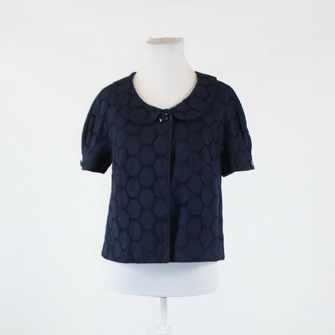 Navy blue eyelet ANN TAYLOR LOFT short sleeve jacket 6