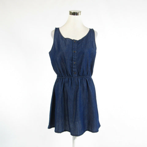 Dark blue chambray NATHALIE B sleeveless A-line dress L-Newish