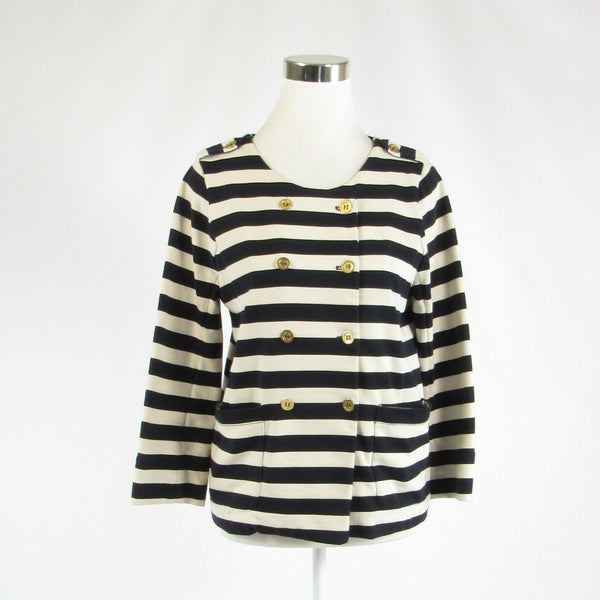 Black white striped J. CREW double breasted 3/4 sleeve jacket M-Newish