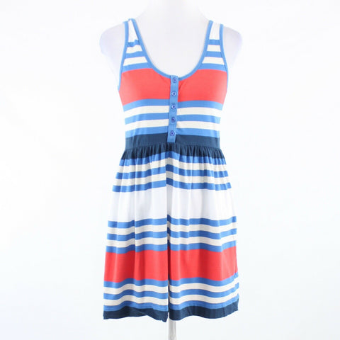 Blue white uneven striped cotton blend FRENCH CONNECTION A-line dress 8
