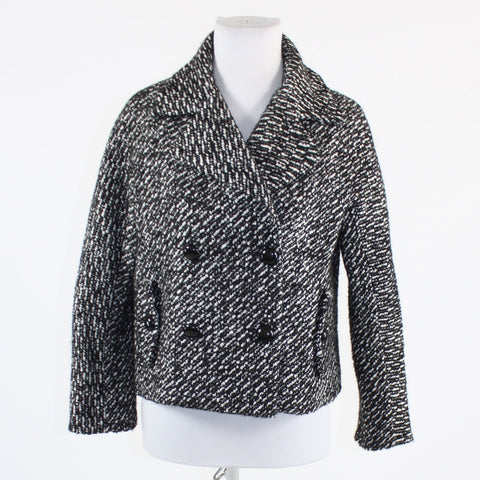 Black white double breasted tweed TALBOTS 3/4 sleeve jacket 6P