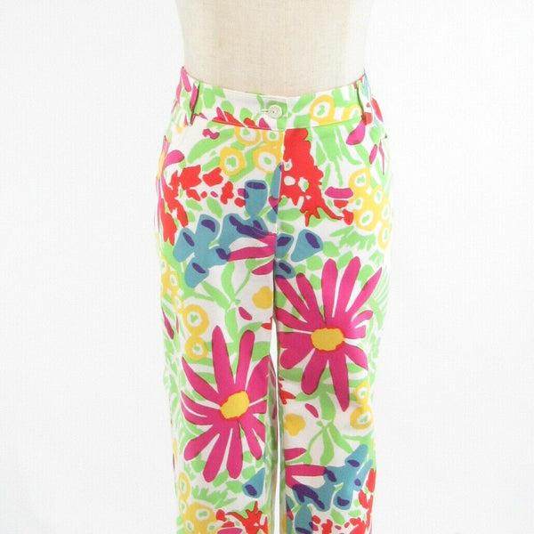 White green floral print cotton blend J. MCLAUGHLIN stretch straight leg pants 8