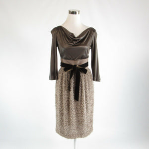 Taupe brown CHARLES NOLAN stretch shimmery 3/4 sleeve sheath dress 4