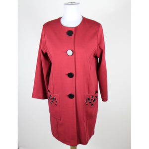 WD NY dark red cotton blend 3/4 sleeve button down stretch coat 8-Newish