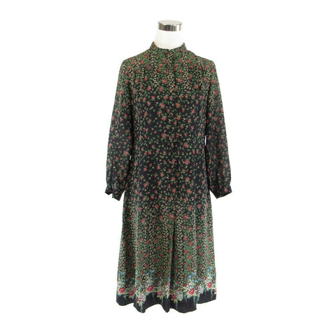 Black green floral BOUTIQUE LA MIENNE TOKYO long sleeve vintage dress 13 M