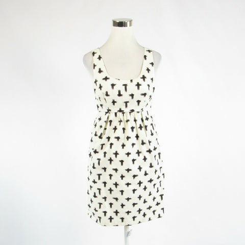 White black geometric cotton blend RACHEL ROY sleeveless A-line dress 6-Newish