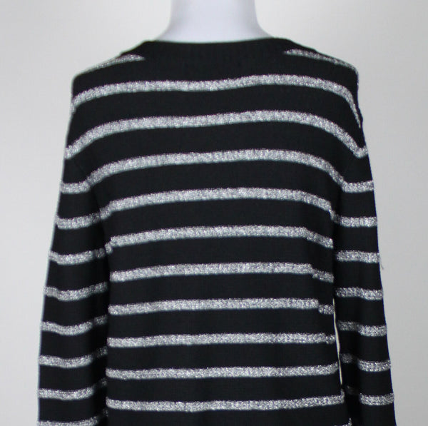 JONES NEW YORK black & silver striped rayon long sleeve cardigan sweater PM-Newish