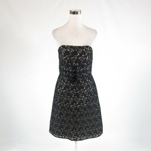 Black ivory lace WHITE HOUSE BLACK MARKET sleeveless A-line dress 8
