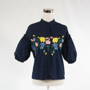 Navy blue yellow floral print 100% cotton AXEL button down blouse FR36 6-Newish