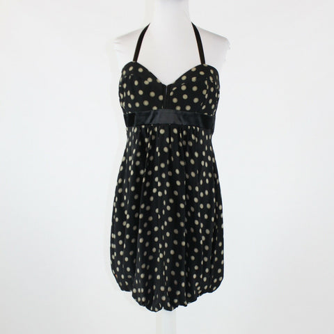 Black beige polka dot stretch ALEXIA ADMOR satin trim halter bubble dress L