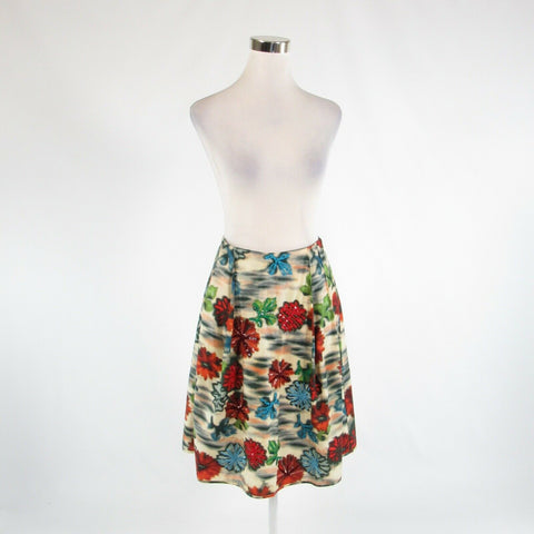 White red floral print 100% cotton MALIPARMI pleated skirt IT40 6-Newish