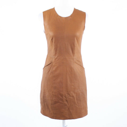 Light brown 100% leather BOB and CHRISTENSEN sleeveless sheath dress 2