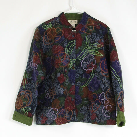 Navy blue brown floral print 100% cotton ORVIS jacket XL