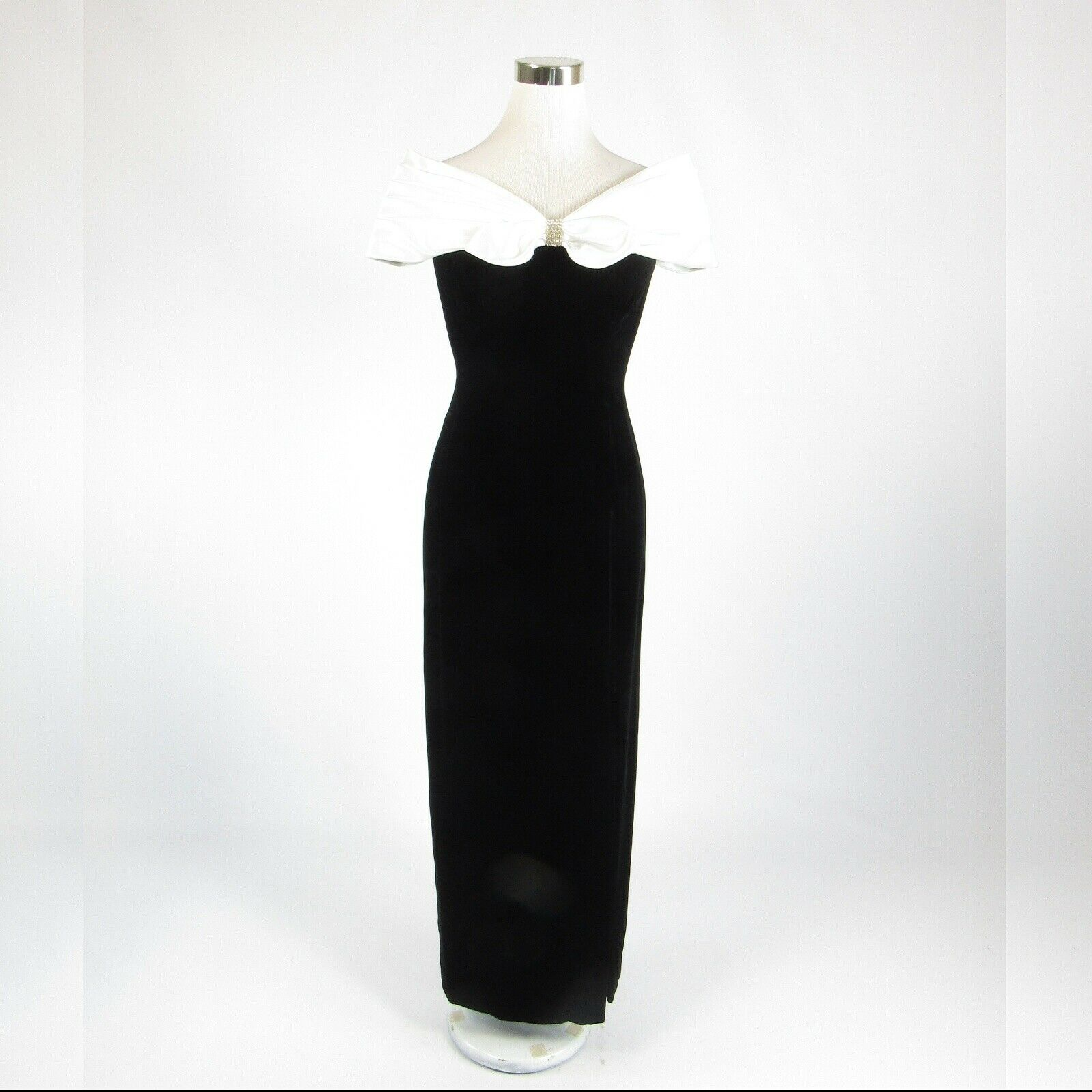 Black white velvet MORTON MYLES rhinestone trim sleeveless maxi dress 4-Newish