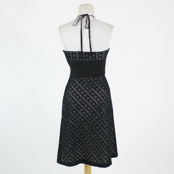Black over white eyelet 100% cotton WHITE HOUSE BLACK MARKET halter dress 0-Newish
