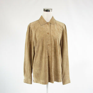 Beige suede OUTFIT JPR long sleeve button down blouse M-Newish