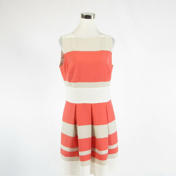 Coral orange beige uneven striped LAUREN RALPH LAUREN sleeveless A-line dress 12-Newish