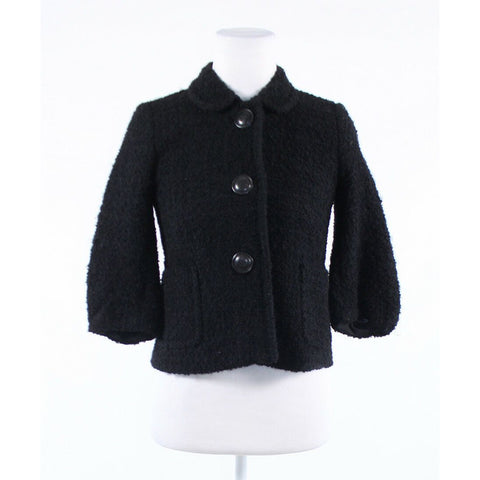 Black tweed J. CREW bell sleeve button front jacket 0