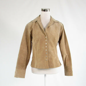 Beige 100% leather COLDWATER CREEK long sleeve jacket S