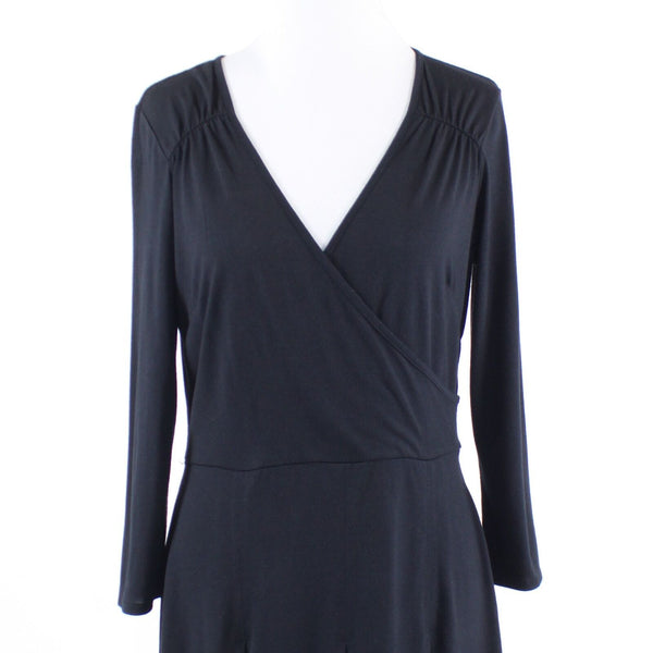 Black stretch ANN TAYLOR LOFT 3/4 sleeve A-line dress 8-Newish