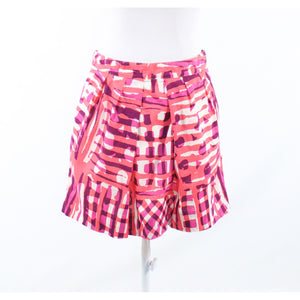 Coral orange pink geometric 100% cotton WE LOVE VERA pleated skirt 2