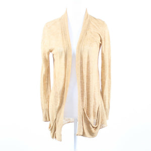 Beige 100% linen EILEEN FISHER long sleeve shrug sweater PM