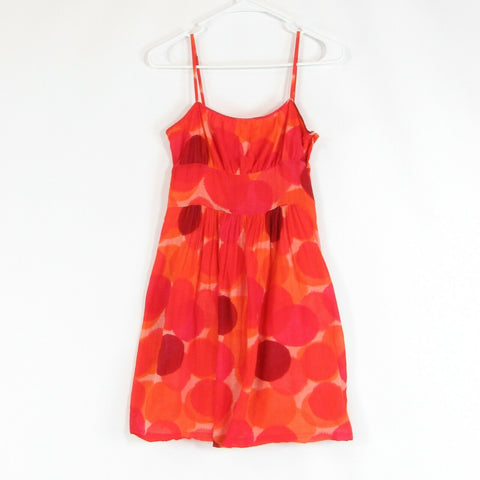 Bright orange red geometric cotton blend THEORY sheer overlay sun dress 6