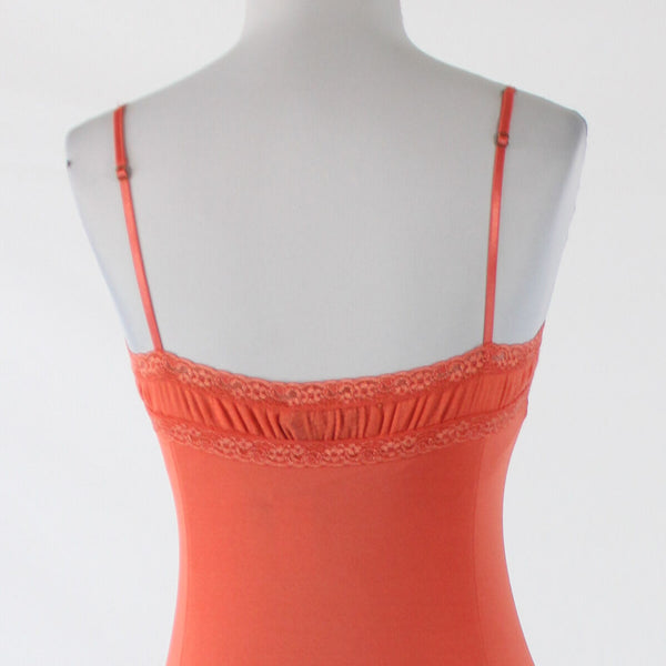 Coral orange THE LIMITED sleeveless shimmery lace trim cami XS