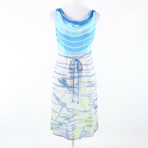 Blue white space dyed WE LOVE VERA long sleeve sun dress 6 NWT $148.00