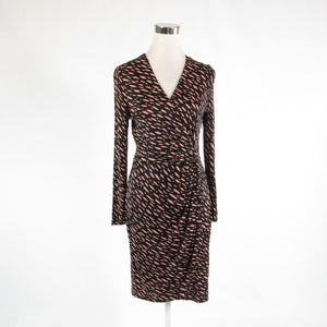 Black pink geometric L.K. BENNETT LONDON long sleeve faux wrap dress 4-Newish