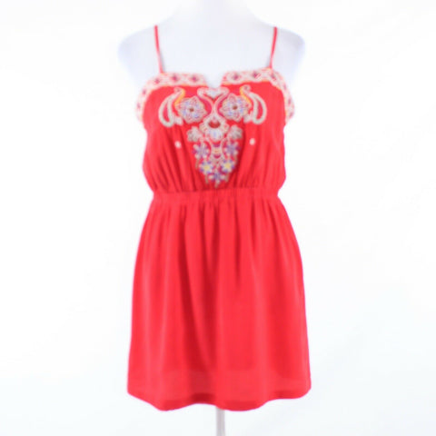 Red 100% silk LINE and DOT embroidered beaded chest spaghetti strap sun dress L