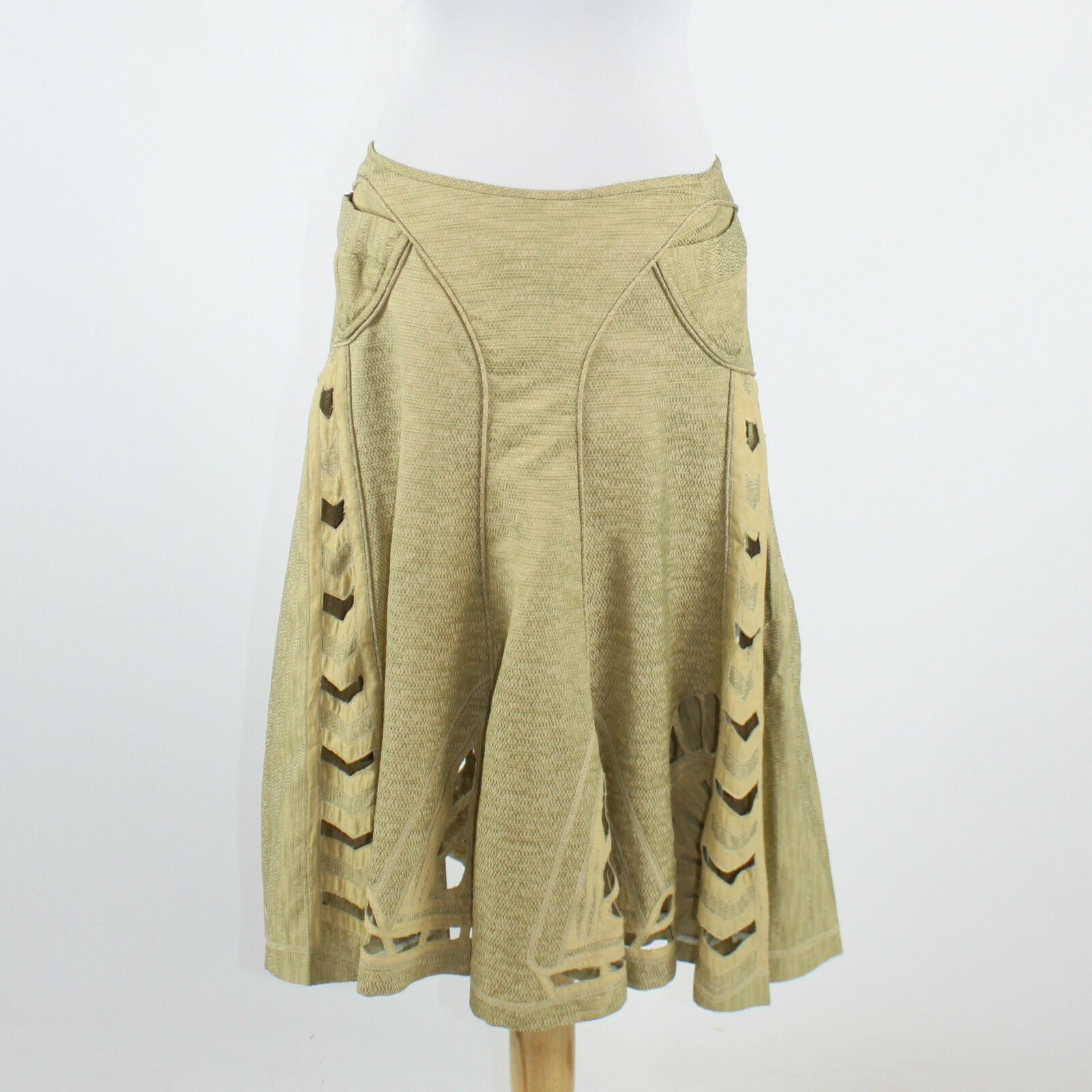 Greenish beige ZAC POSEN A-Line arrow shaped cut out knee-length skirt 6
