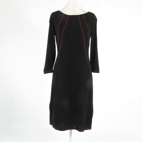 Black red DAVID MEISTER stretch 3/4 sleeve sheath dress 10-Newish
