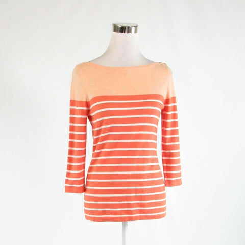Dark orange peach striped cotton blend J. MCLAUGHLIN 3/4 sleeve knit blouse S
