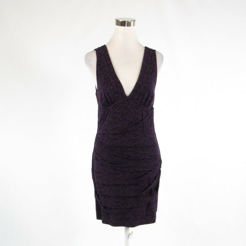 Purple black abstract BCBGENERATION stretch sleeveless bodycon dress M