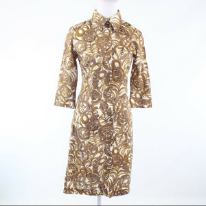 Ivory brown floral print 100% cotton MILLY 3/4 sleeve shirt dress 2