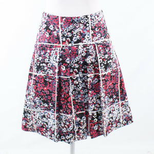 Navy blue red floral print cotton blend TIMO. WEILAND pleated skirt 4