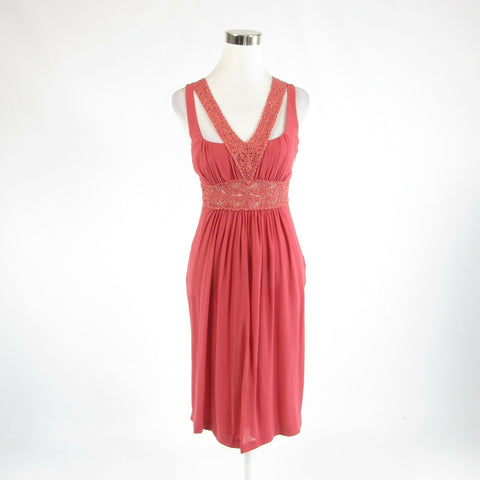 Pink gold 100% silk NICOLE MILLER COLLECTION sleeveless empire waist dress 4