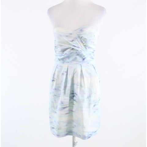 White blue abstract 100% cotton BADGLEY MISCHKA Mark and James strapless tea dress-Newish