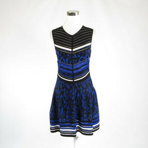 Black blue uneven striped ROBERTO CAVALLI sleeveless A-line dress IT44 10