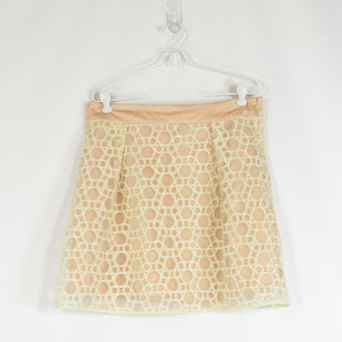 Beige geometric embroidered ANTHROPOLOGIE RYU sheer overlay A-line skirt L