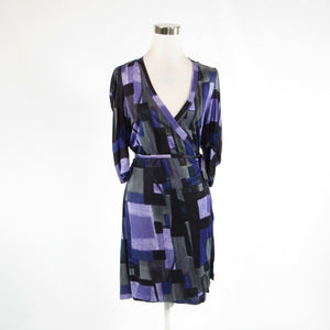 Dark purple black geometric ARMANI EXCHANGE stretch 3/4 sleeve wrap dress L-Newish