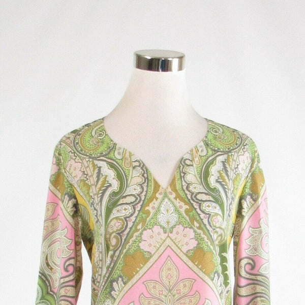 Pink green paisley 100% cotton J. MCLAUGHLIN long sleeve tunic blouse 4